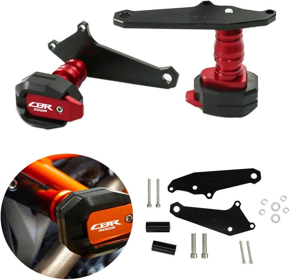Red, Two Hole Motorcycle Frame Sliders Protector Guard Engine Frame Crash Protectors for Honda CBR500R 2016 2017 2018 Worldmotop