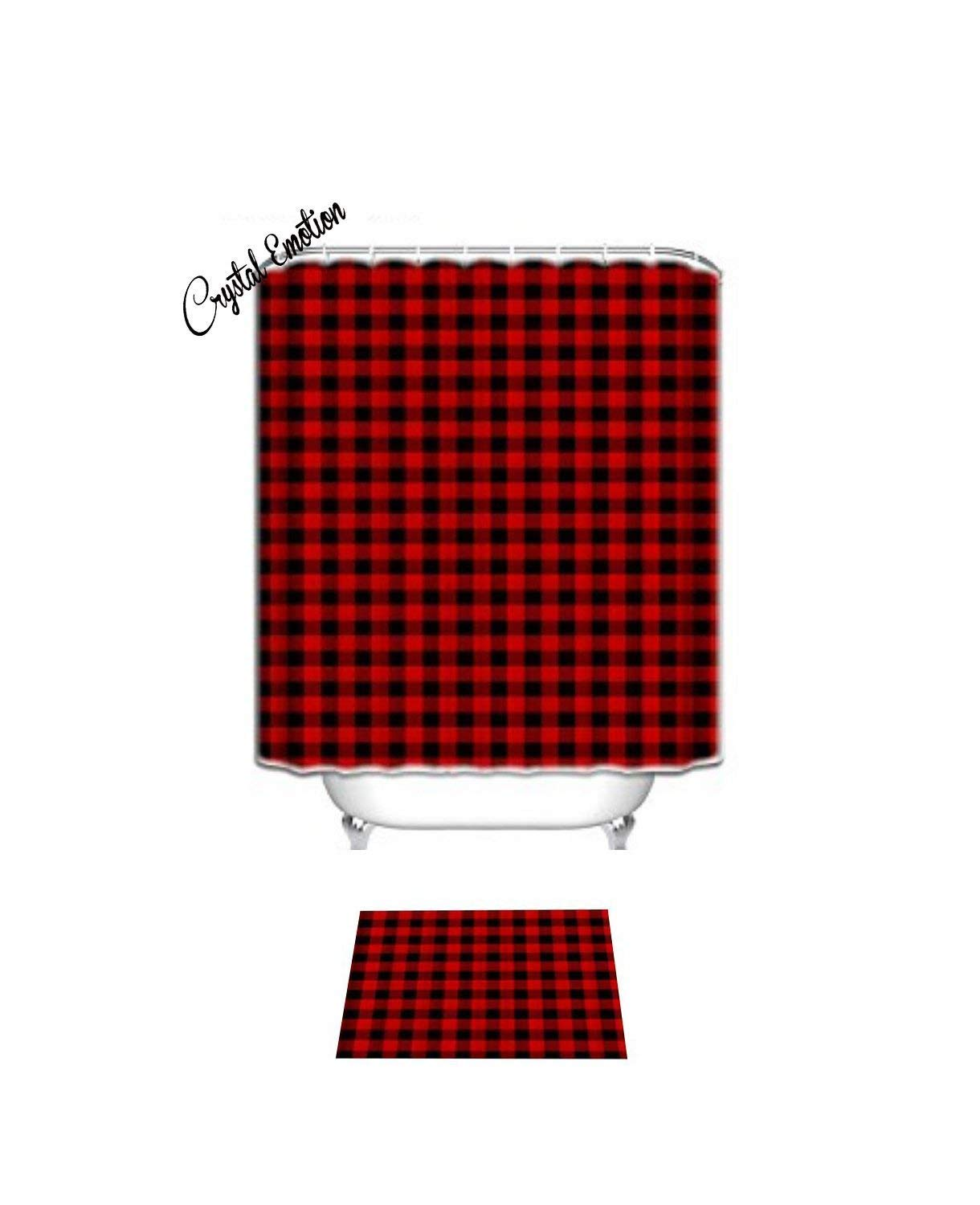 Crystal Emotion Rustic Red Black Buffalo Check Plaid Pattern Shower Curtain Set CrownLiny