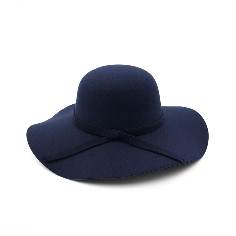 Zesoma Winter Women Woolen Felt Hat Wave Wide Brim Fedora Hats Trilby Dome Formal Hat