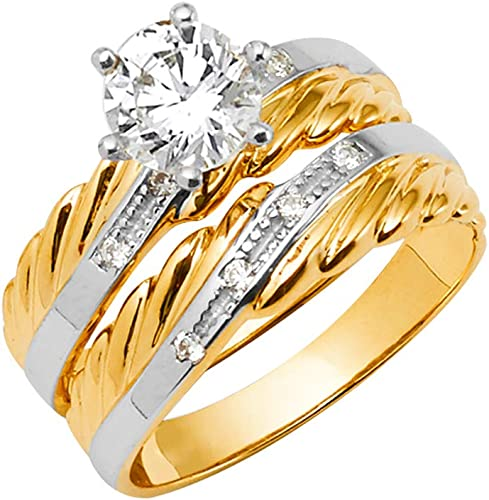 Wellingsale Mens 14K Two 2 Tone White and Yellow Gold Polished Diamond Cut CZ Cubic Zirconia Wedding Ring Band