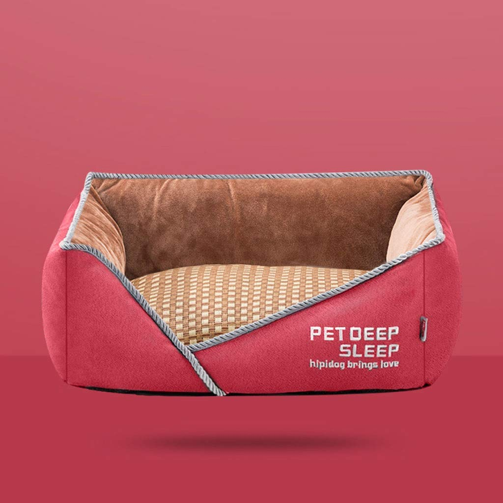Red 80×60×20cm Red 80×60×20cm Washable Square Pet Nest, Teddy Large Medium Small Cat Dog Bed Home Super Soft Non-Slip Pet Supplies (color   Red, Size   80×60×20cm)