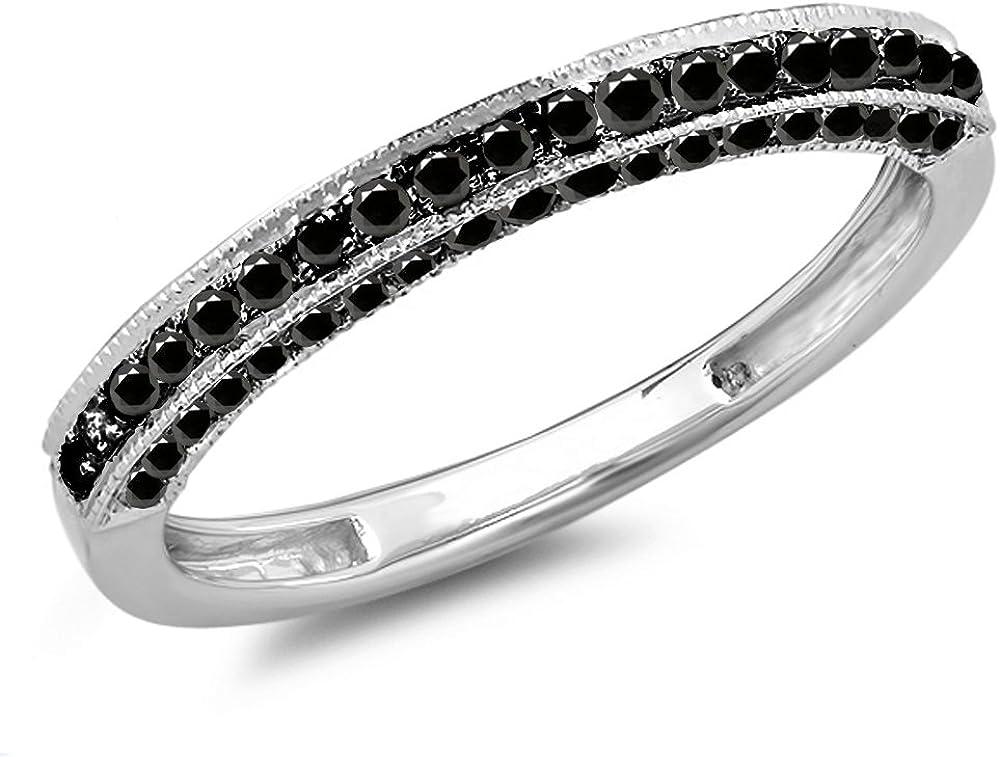 Dazzlingrock Collection 0.40 Carat (ctw) 10K Gold Round Black Diamond Stackable Wedding Band Enhancer Guard Ring