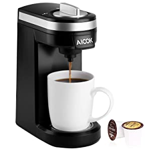 Aicok Single Serve Coffee Maker, Coffee Machine with 12OZ Water Tank, for Most Single Cup Pods including K-Cup Pods, Quick Brew Technology Travel One Cup Coffee Brewer