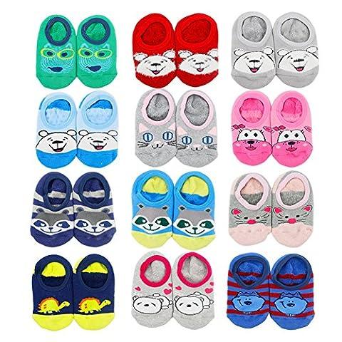 VWU 4 Pairs Baby Thick No Show Terry Socks Cute Cartoon Slipper Socks (1-3 years, Boys (4 pairs random color))