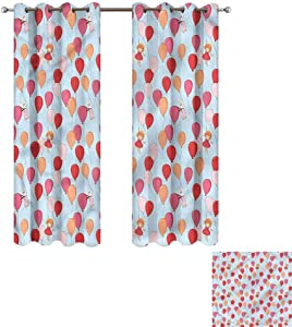 """Cash Hoover Bedroom Curtain Baby,Bunny Girl and Balloons,Living Room and Bedroom Multicolor Printed Curtain Sets 31"""" Wx72 L,2 Panels"""