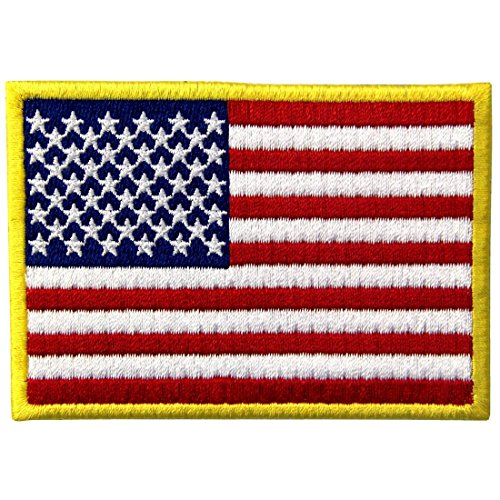 - American Flag Patches Embroidered Gold Border USA United States of America Military Uniform Fastener Hook & Loop Emblem
