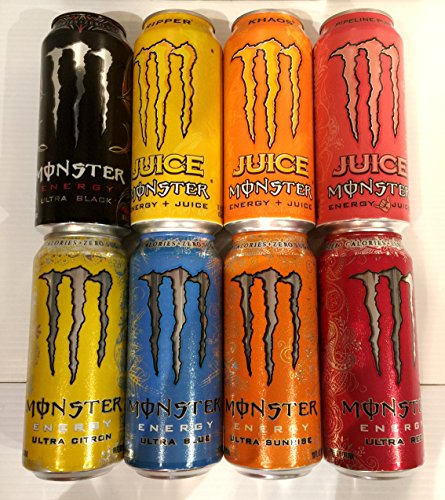 Monster Energy Drink Variety Pack - New Embossed Cans - 8 Pack