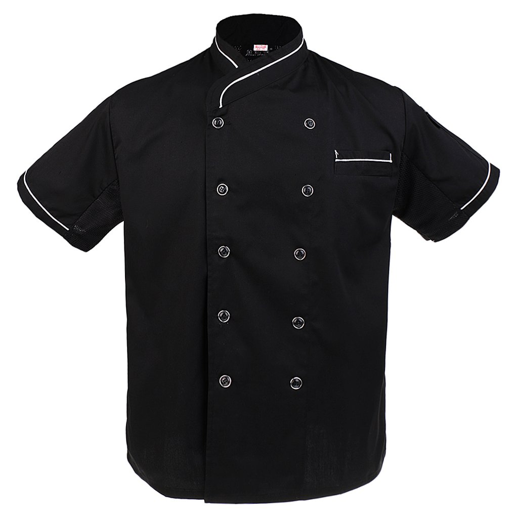 Jili Online Chef Uniforms Unisex Mesh Sleeve Black Executive Chef Coat Catering Jackets - Red, 2XL
