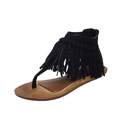 4fa5b60fc Dear Time Women Suede Tassels Thong Flat Sandals Flip Flops Fringe Shoes  Black US 4.5