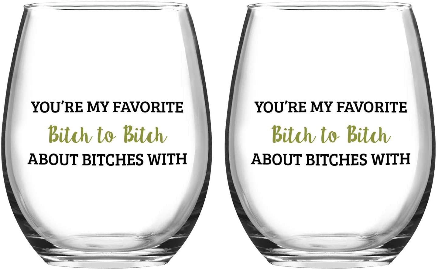 Set of 2 Wine Glasses You're My Favorite Stemless Wine Glasses for Girls Bachelorette Party Friends Women Her, 15 Oz