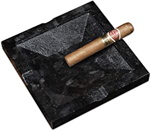 MAYROOM Natural Stone Marble Cigarette Cigar Ashtray for Man and Women Outdoors Indoors Desktop Smoking Light Transmission Ash Tray for Home Office Patio Decoration Gift (Black, 7.08×7.08×1.06 inch)