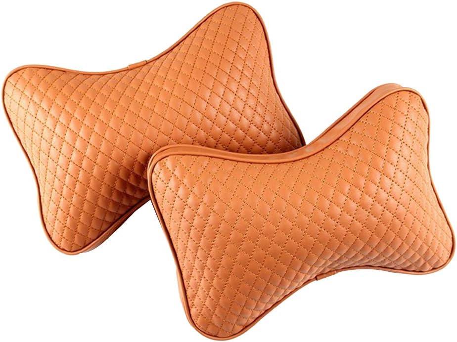 Brown Grebest Car Headrest Pillow Car/Seats/Accessoires Cushion 1 Pair Stylish Car Seat Headrest Neck Support Faux Leather Cotton Pillow Cushion