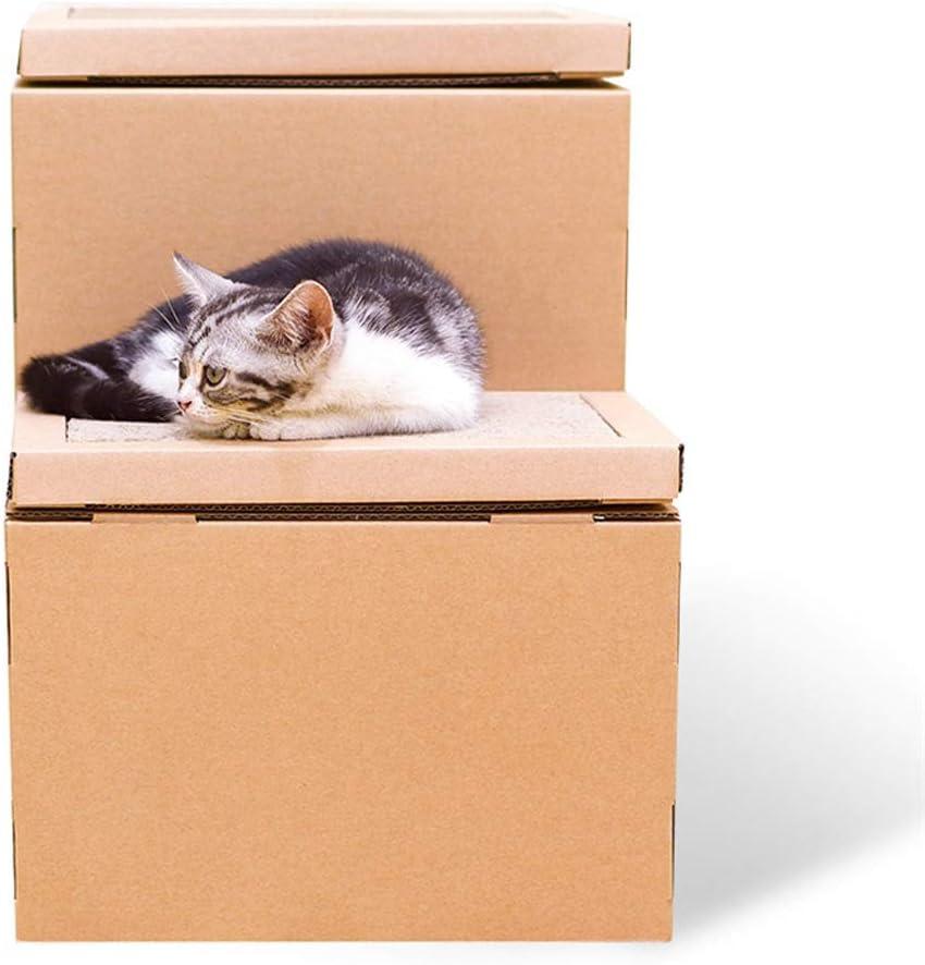 QBYLYF Rascador de cartón para Gatos Cottage Cat Scratcher House Caja de cartón con Almohadilla for rascar, Juguete for Colgar y Catnip El Mejor rincón for rascar en Interiores de Kitty: Amazon.es: