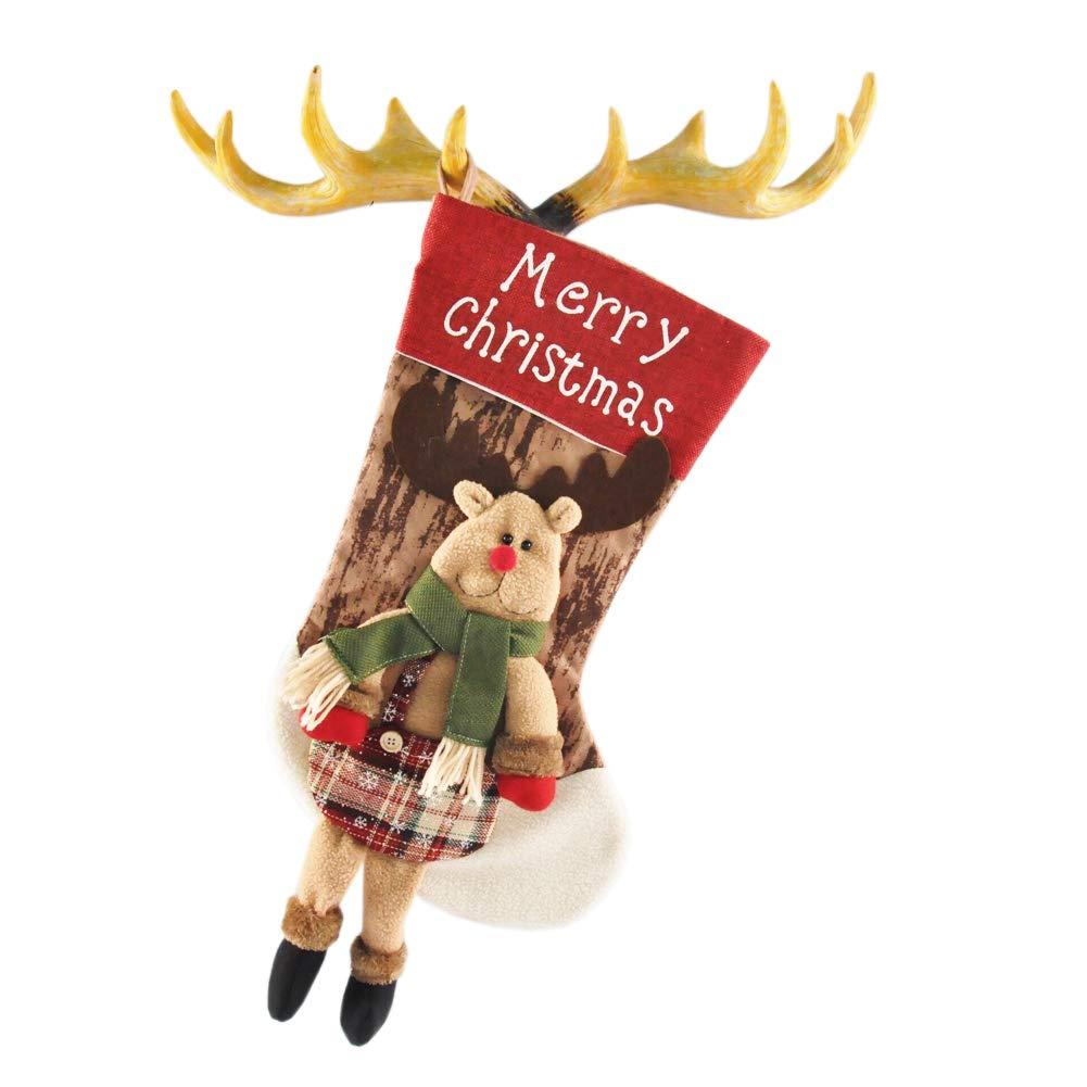 TOYESS Grande Calza di Natale, Sacchetto Porta Caramelle, Borsa Regalo di Natale, 3D Character Natalizio da Appendere(Alce)