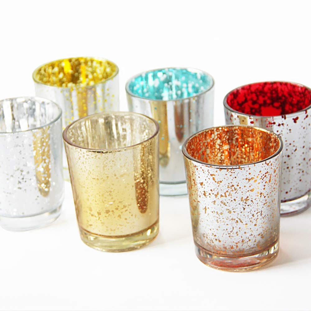 NQXXN Votive Candle Holder Set of 6, Color Shiny Crystal Glass Home Decor Candle Holder, Adds The Perfect Ambience to Your Wedding/Home Decor by NQXXN