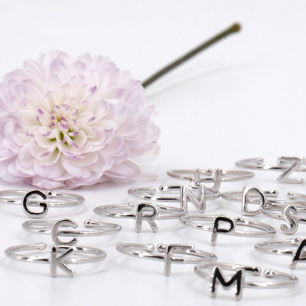 Rhohdium Plated Sterling Silver 925 Stackable Initial Ring Alphabet Letter Knuckle Rings Open Size Ajustable Bridesmaid Personalized by espere (Image #5)