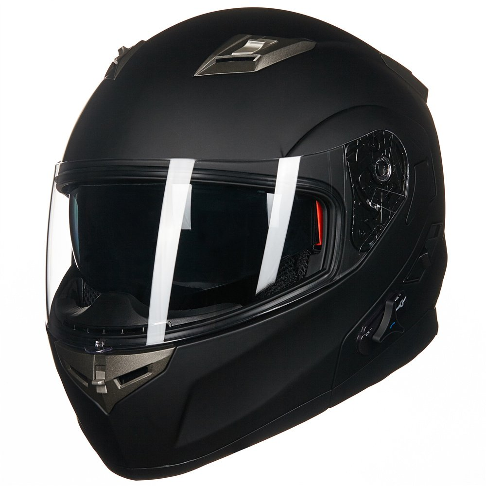 d30c8499 Amazon.com: ILM Bluetooth Integrated Modular Flip up Full Face Motorcycle  Helmet Sun Shield Mp3 Intercom (M, MATTE BLACK): Automotive