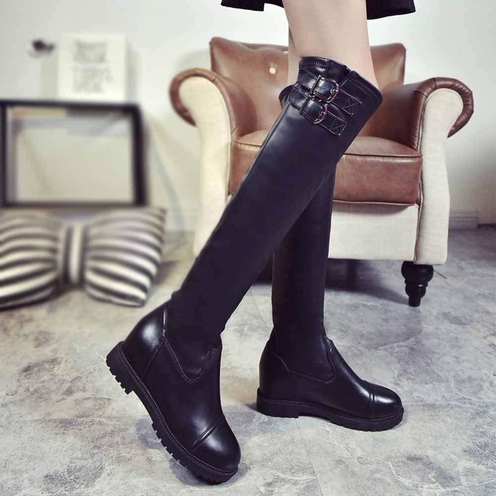 ZHRUI Stiefel Damen Schuhe Stiefeletten Mode Frauen Kniehohe Stiefel Leder Leder Leder Winterstiefel Schnalle Stretch Damen Stiefel (Farbe   Schwarz, Größe   40 EU) 52df39