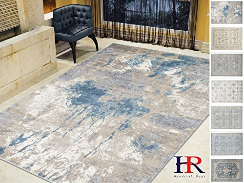 Handcraft Rugs- Silver/Ash Gray/Ivory/Ocean Blue-Faded, Distressed Area Rug - Modern Waterfall Abstract Rug - Paint Brush Stroke Multicolor Design Rug(8x10 feet)