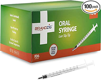 100 No Packed Sterile Blister Needle Slip Luer Administration Toddlers Syringe For Individually Medicine – Approved Tip 1ml Pack - Fda Infants