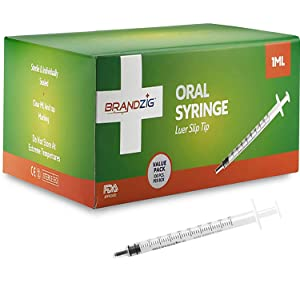 1ml Syringe - 100 Pack – Luer Slip Tip, No Needle, FDA Approved, Sterile Individually Blister Packed - Medicine Administration for Infants, Toddlers and Small Pets
