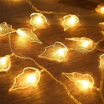 Branches De Jardin Imperméables Éclairage Lumières En Forme De Feuille Guirlandes Led Batterie Usb Fête De La Famille Fête Intérieure Fête Chaleureuse Lumières Décoratives Chaîne: Amazon.es: Iluminación