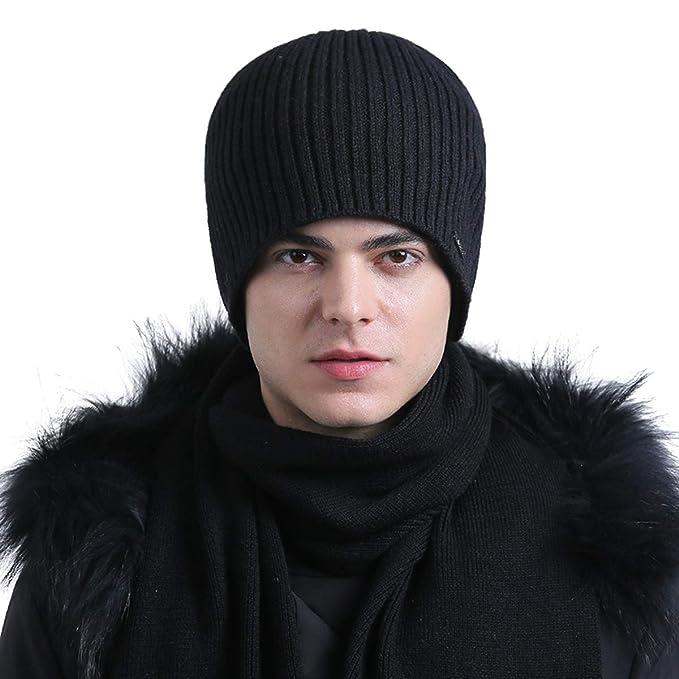 22bc12d1446 CACUSS Mens Winter Wool Beanie Hat Warm Knit Hat Daily Cuff Beanie Thick Ski  Caps Comfy