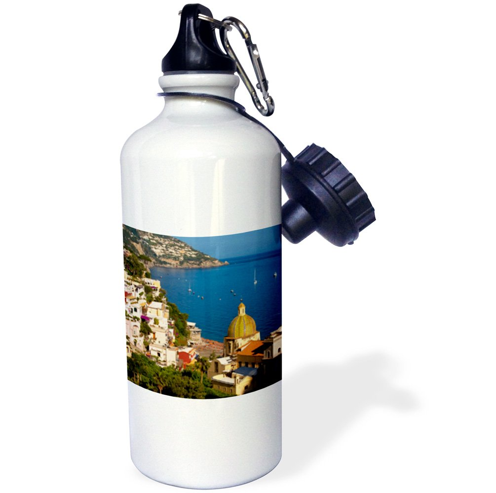 3dRose wb_137536_1 ''Amalfi coast, hillside of Positano, Campania, Italy EU16 BJN0038 Brian Jannsen'' Sports Water Bottle, 21 oz, White