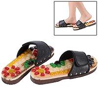 Massage-Schuhe Bunte Kieselsteine Naturstein Massage Schuhe Fußreflexzonen Akkupressur für Fußpflege Entspannung zu Hause(37-Schwarz)