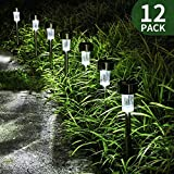 FC-Fancier Solar Lights for Outdoor Garden Led Light Landscape / Pathway Lights, Bright White, Waterproof,Stainless Steel-12 Pack