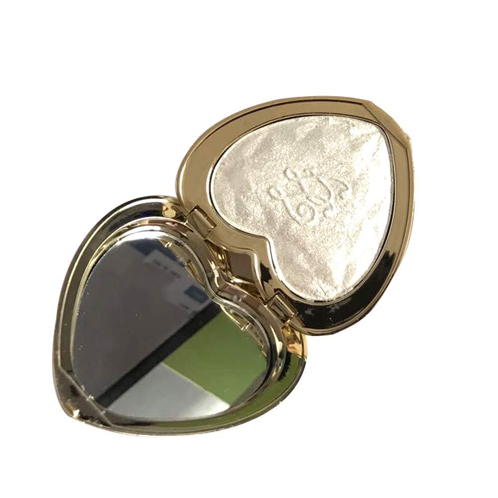 En forma de corazón resaltador polvo paleta maquillaje brillo nacarado brillo hornear polvo contorno sombra de sombras polvo (blanco) Hilai