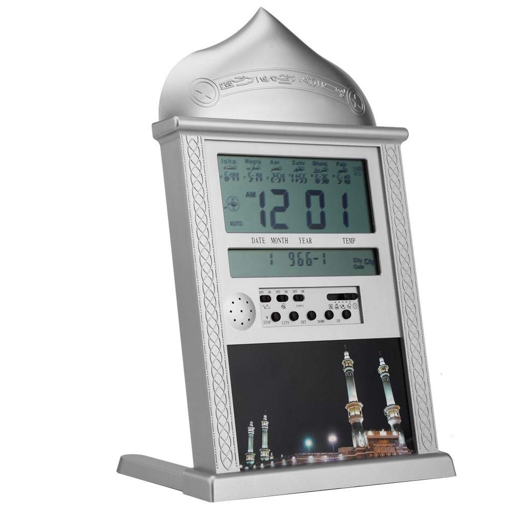 Hakeeta Azan Clock Large for Home Or Masjid with LED Display, 1500 Cities to Choose, 5 Different Time Display, Prayer Wall Clock/Stand Colck by Hakeeta