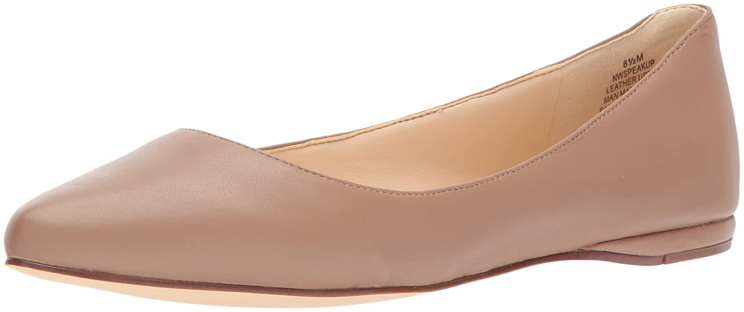 Nine West Women's Speakup Leather Pointed Toe Flat B0714383X5 9 B(M) US|Dark Natural Leather