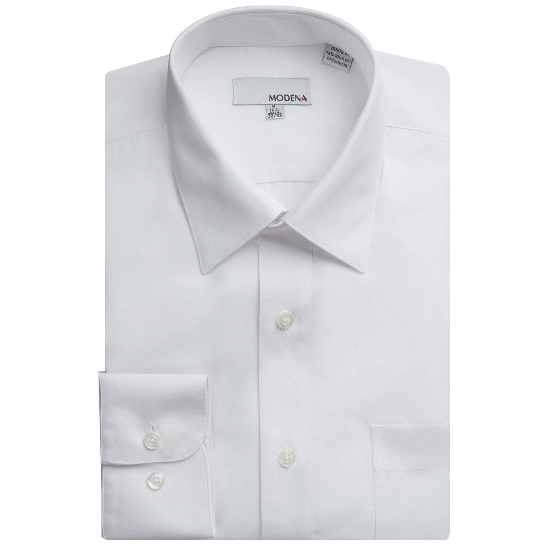 Modena Men's Long Sleeve Dress Shirt - All Sizes (Including Big & Tall) (20 34/35, White)