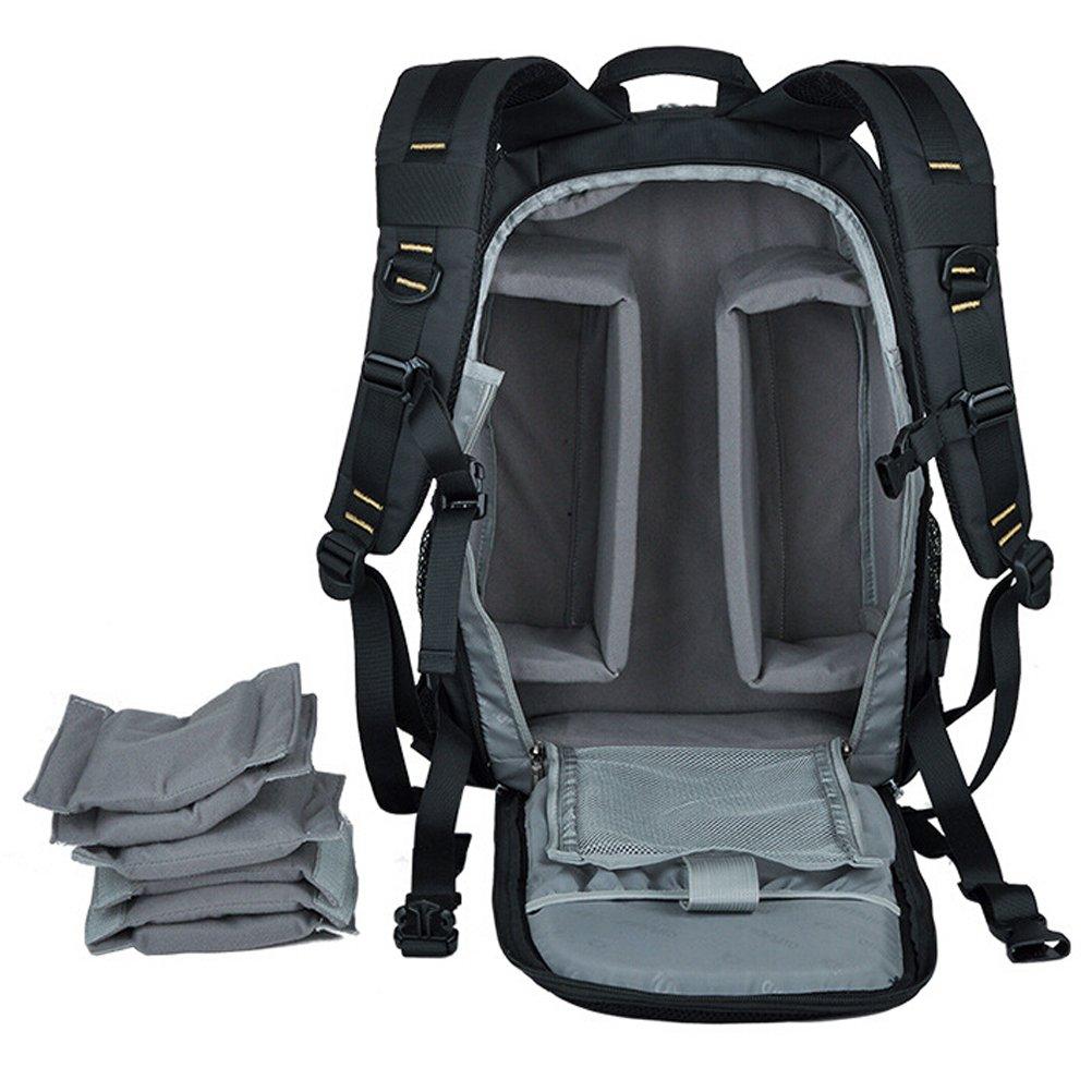 Amazon.com : Waterproof Camera Bag Nylon DSLR Camera Backpack Daypack Laptop Compartment for Nikon Canon Cameras Olympus EOS Pentax Dslr SLR (Black) : ...