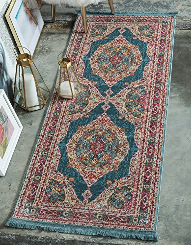 - Unique Loom Baracoa Collection Bright Tones Vintage Traditional Turquoise Runner Rug (2' 2 x 6' 0)