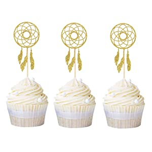 Ercadio 24 Pack Dream Catcher Cupcake Toppers Gold Glitter Cupcake Picks Baby Shower Birthday Party Cake Decors