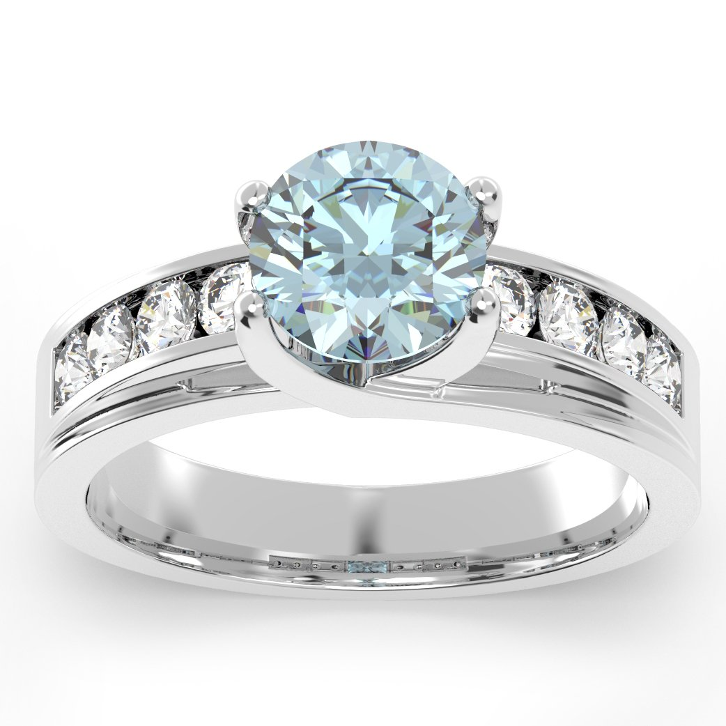 The Jewelry Galleria 925 Sterling Silver 1.3 Ct Round Light Blue Center Stone CZ Engagement Ring Size 8