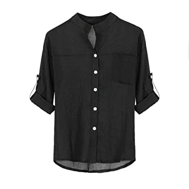 HOOUDO Polo Shirts Mens,Autumn Winter Sales Casual Fashion Linen Cotton Plaid Print Long Sleeve Turn Down Collar with Button Tops Blouses