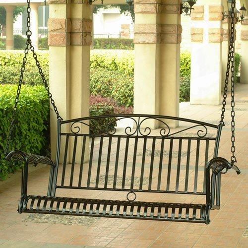 International Caravan Tropico Iron Patio Porch Swing in Black
