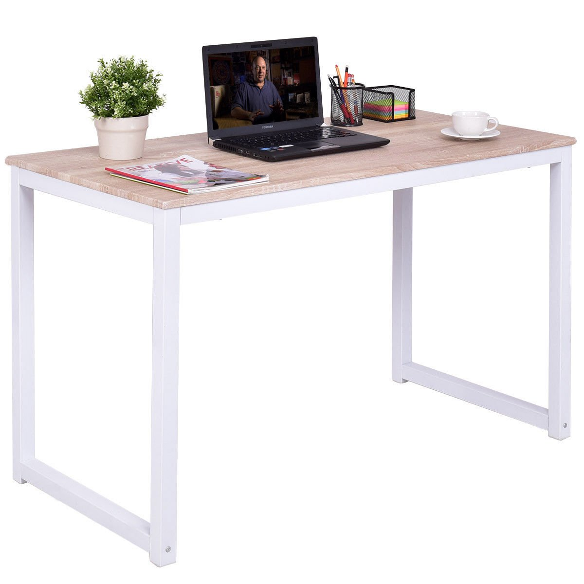 Tangkula Computer Desk Wood Compact Home Office Workstation Writing Table (wood)