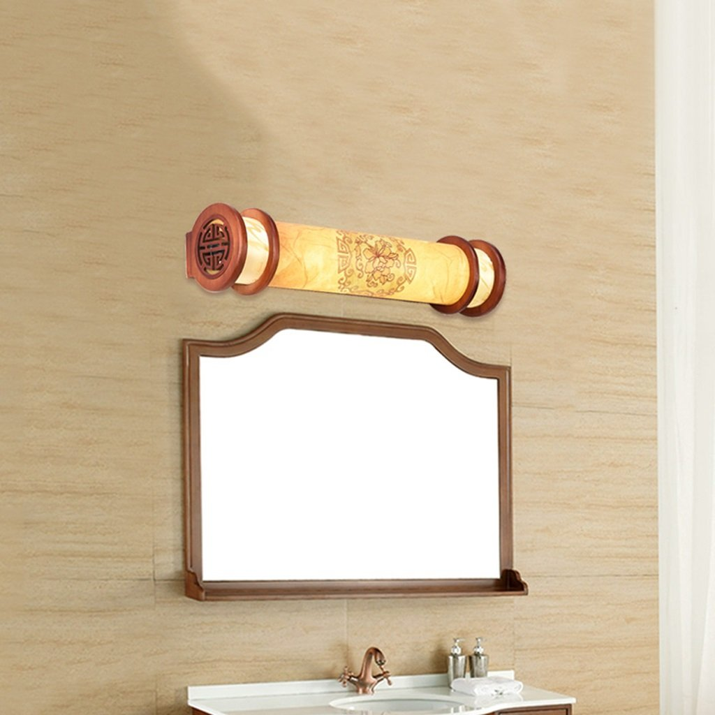 Mirror Light, LED, Bathroom Light, Solid Wood Mirror Lamp, Modern Minimalist Bedroom Wall Light, Chinese Style, Yellow 50cm