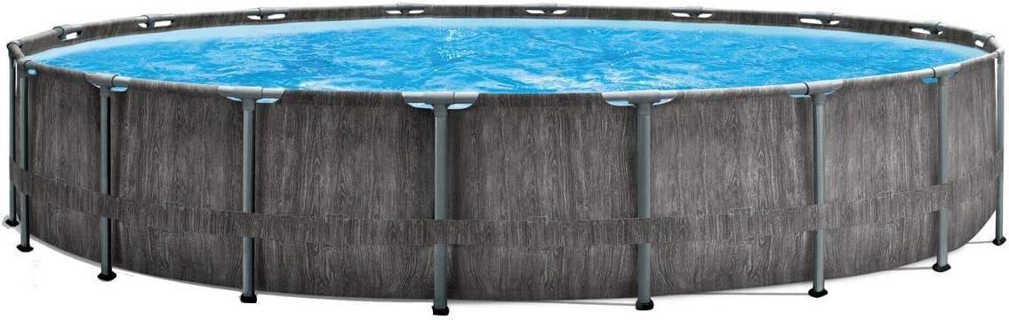 Marimex Piscina Florida Premium Greywood I Piscina de Pared de Acero para jardín I 4,57x1,22 m I con Accesorios (filtración de Cartuchos, Filtro de inserción, escalones, tapete de Piscina, Lona)