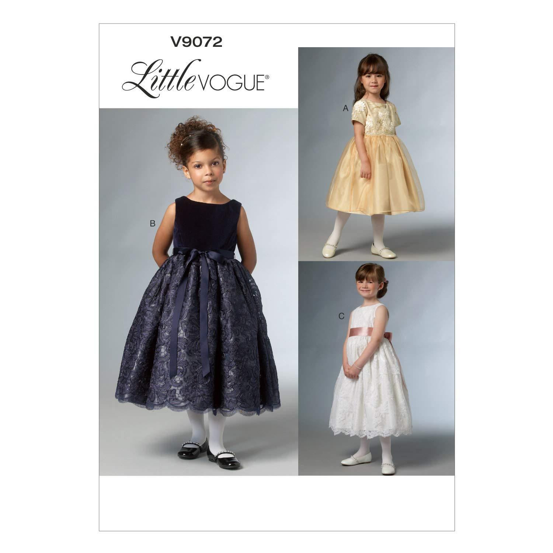 0b86eb0751e Amazon.com  Vogue Patterns V9072CCE Children s Girls  Dress Sewing  Template