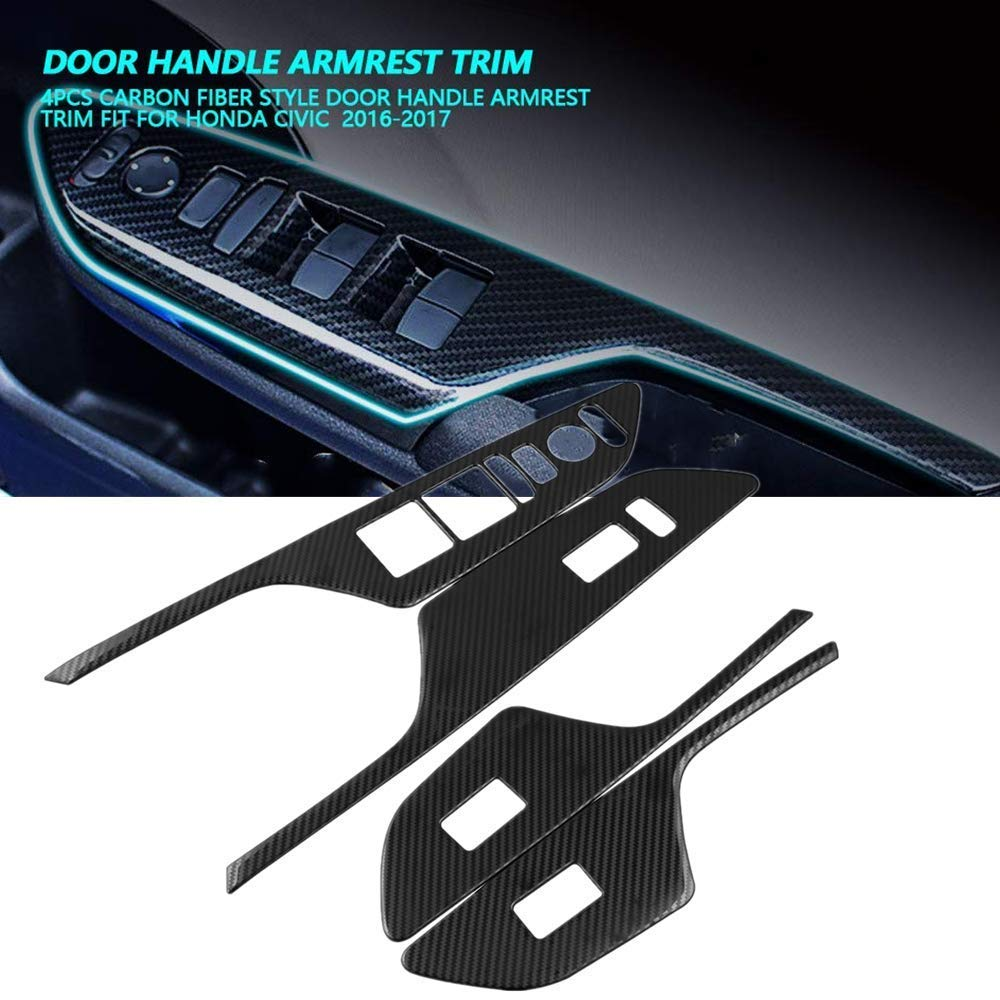 Ruien for Civic Window Rise Lift Down Control Panel Armrest Cover ABS Carbon Fiber Style Door Lock Switch Trim for 2016 2017 2018 2019 2020 Honda 10th Gen Civic