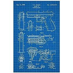 Inked and Screened Glock 17 Handgun - G. Glock - 1985 Print, 11 x 17, Blue Grid - White Ink