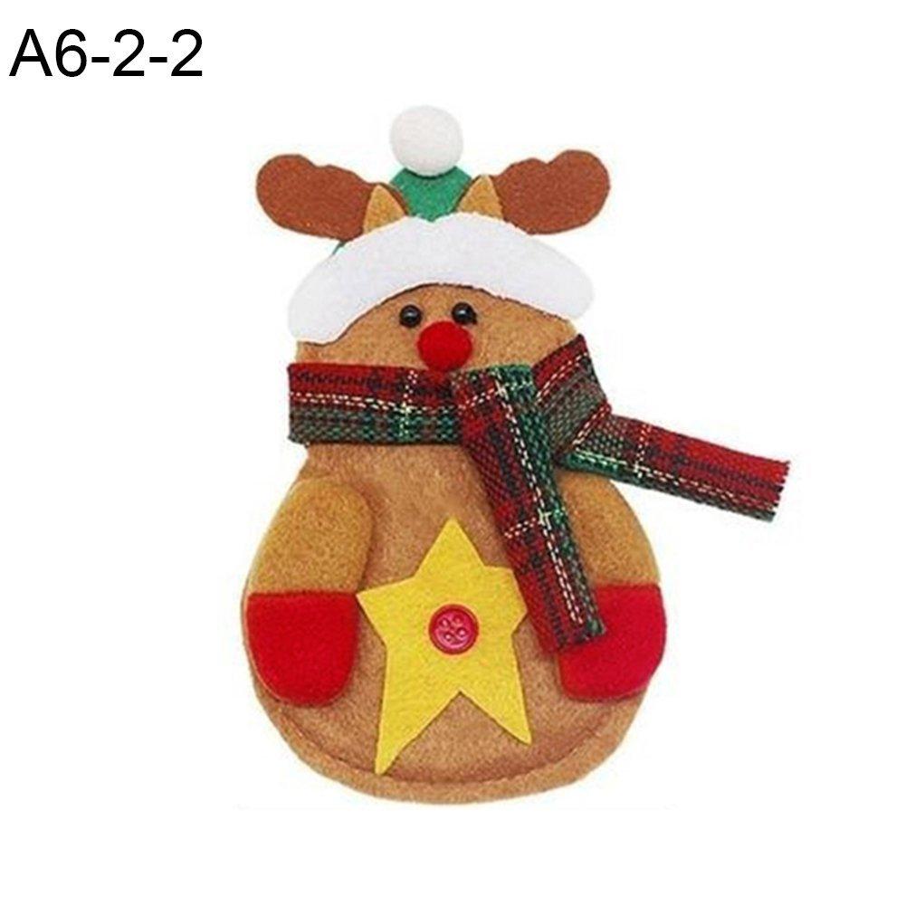 wintefei Useful Daily Home Tools Santa Claus Pattern Cutlery Holder Utensil Bag Fork Knife Pocket X