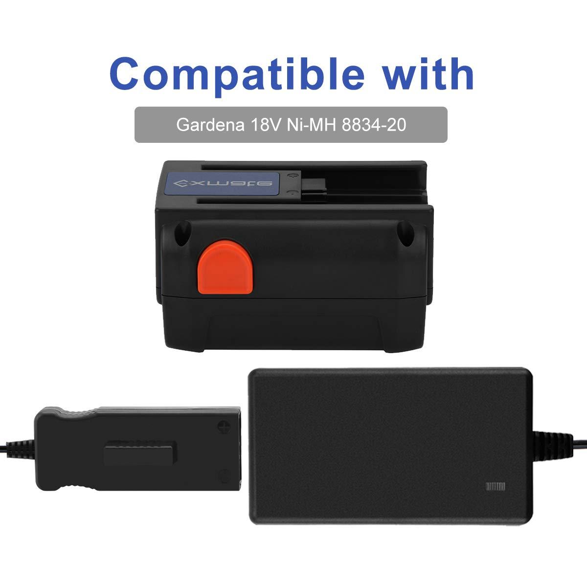 Exmate Cargador de bater/ía Compatible con bater/ías de estilo deslizable Gardena 8834-20 Ni-MH//Ni-Cd no para bater/ías de ion de litio