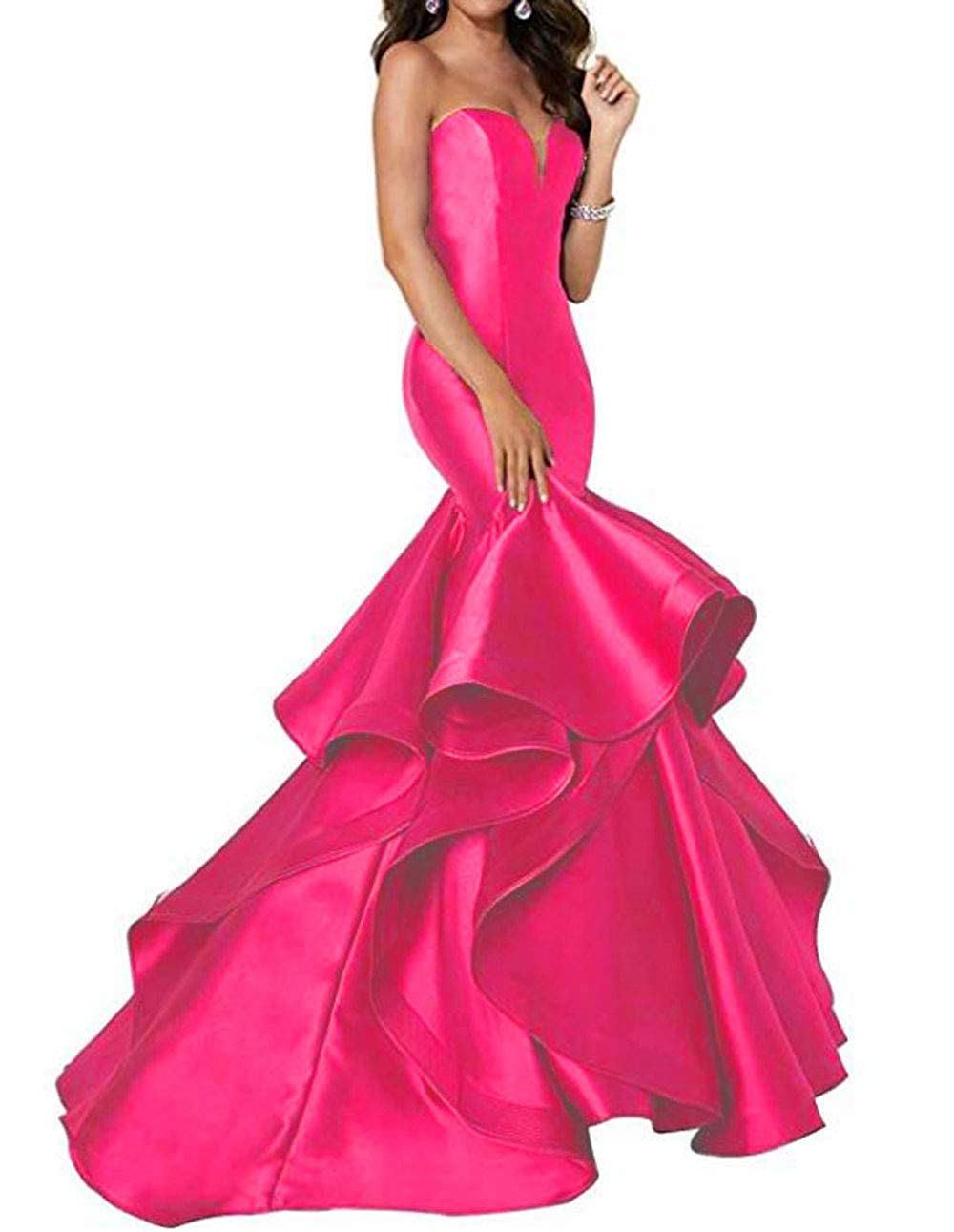 Hot Pink alilith.Z Sexy Sweetheart Prom Dresses Mermaid Tired Satin Train Formal Evening Dresses Party Gowns for Women 2019