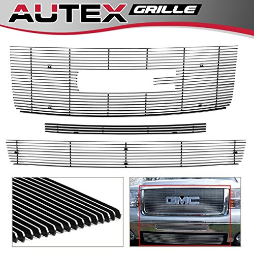 AUTEX Main Upper + Air Dam + Lower Bumper Grills Combo Compatible with GMC Sierra 1500 2007-2011 Billet Grille Insert G61104A